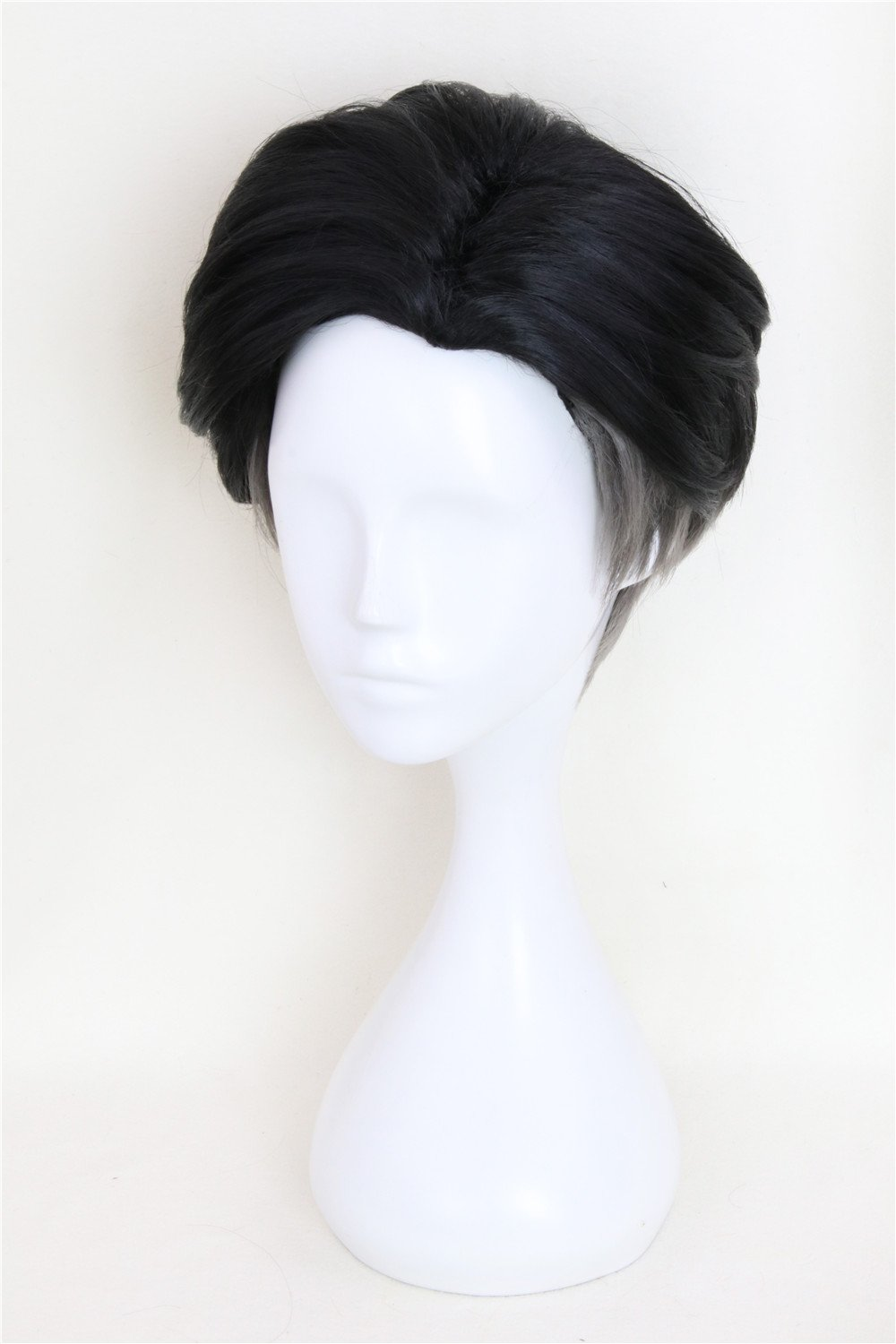 5422110b8 Amazon.com: Xingwang Queen Anime Cosplay Wig Short Black Gradient Gray Hair  Synthetic Slicked-back Wigs with free Cap: Beauty
