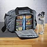 Fit & Fresh Jaxx FitPak Commuter Meal Prep Bag with Shoulder Strap, Portion Control Containers & 24 oz Shaker Bottle