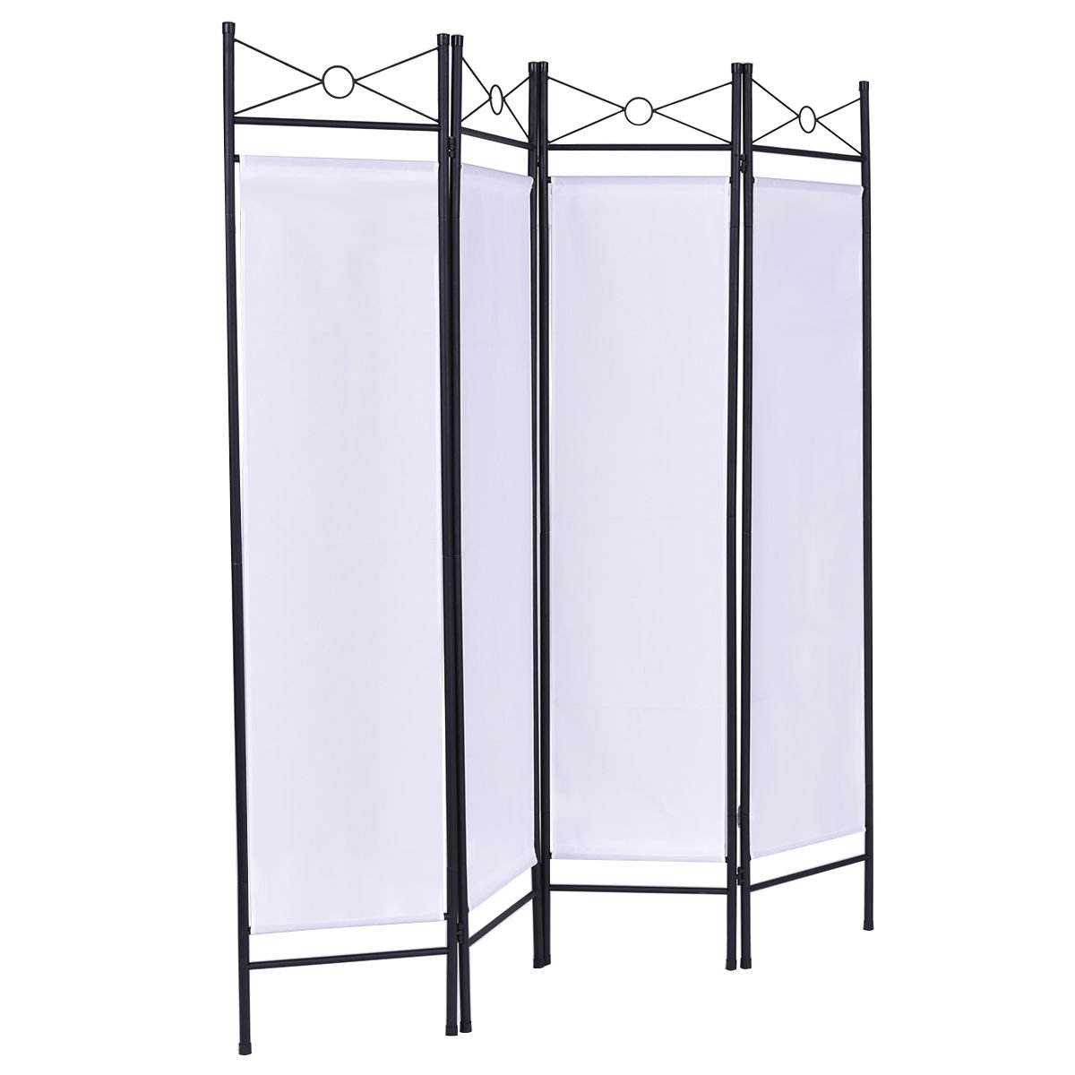 White 4 Panel Room Divider Privacy Folding Screen Home Office Fabric Metal Frame + FREE E - Book by White Bear & Brown Rabbit (Image #1)