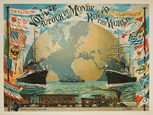 Voyage Autour du Monde - Round the World Vintage Poster  Fra