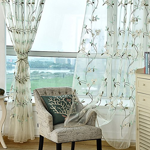 (BW0057 Elegance Design Flower Embroidered Sheer Curtain Rod Pockets Top Window Decoration Drape Voile Panel for Bedroom Dining Room and Living Room(1 Panel, W 52 x L 84 inch, White))