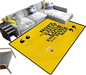 "Hope Indoor Floor Mat Message in Quotation Marks with Square Frame on Yellow Backdrop Carpet for Home Decor Yellow Pale Yellow and Black (5'7""x6'6"")"