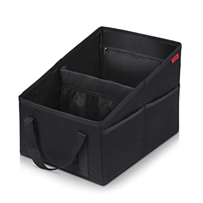 Car Seat Organizer - Passenger Seat Organizer, Collapsible Small Car Seat Storage Organizer for Console Front or Back, Automotive Backseat Organizer with Belt 4 Cup Holders for Kids Accessories Drinks: Automotive