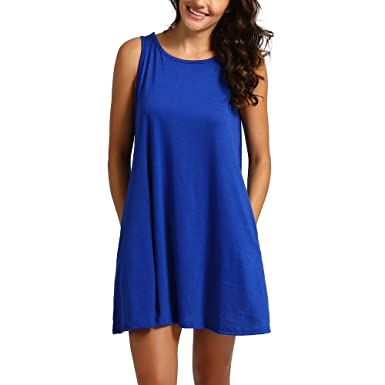 UOFOCO Womens Sleeveless T-Shirt Dresses Pockets Casual Swing Dress Blue 8e2dd2d4d