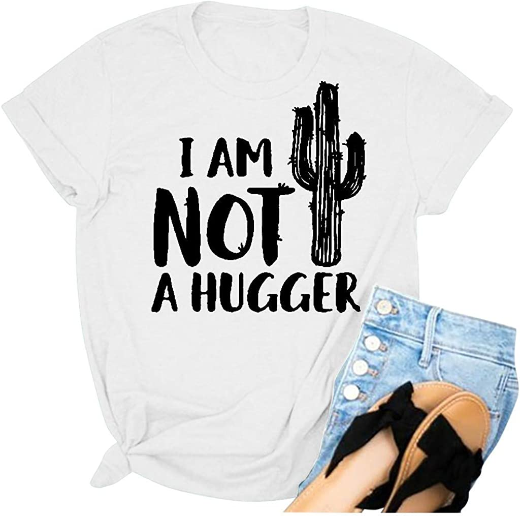 WYTong Women Novelty T-shirt Im Not A Hugger Letter Printing Short Sleeves Top Plus Size Loose Blouse Tee
