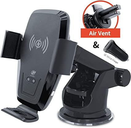 etc Samsung Galaxy S10+ S9+ S8 Note 9 CHGeek 10W Qi Fast Charging Auto Clamping Car Mount Windshield Dashboard Air Vent Phone Holder for iPhone 11 11 Pro Max Xs MAX XS XR X 8+ Wireless Car Charger