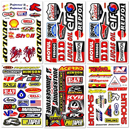 Motocross Motorcross Dirt Bike Dirtbike Motorcycles Moto Race ATV Accessories Sponsor Logos Helmet Parts Racing Pack 6 Vinyl Graphics Sticker Decal Kits Sheet D6724 Best4Buy