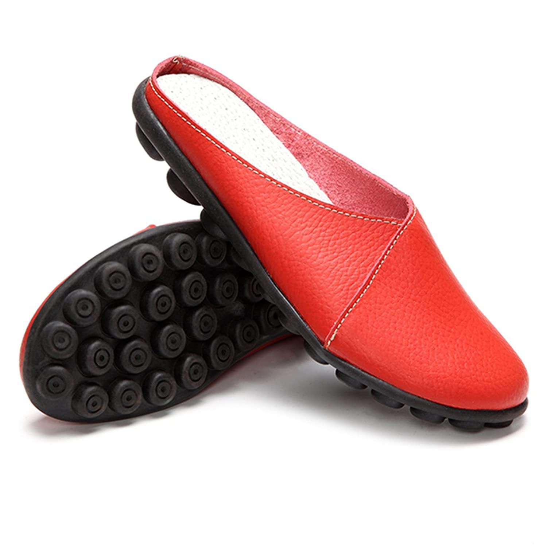 Unisex Hausschuhe, Herren Damen Pantoffeln Leder Slipper Sandale Sommerschuhe Slip-on Bequem für Sommer Soft-Fußbett Clogs Weiß 37 Gracosy