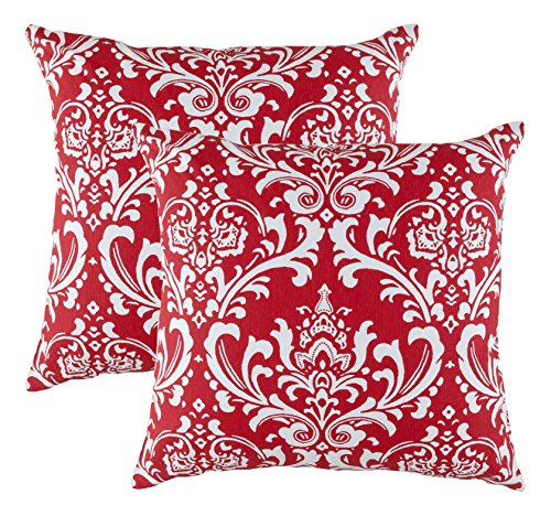 TreeWool 2 Pack Throw Pillow Covers Damask Accent Decorative Pillowcases Toss Pillow Cushion Shams Slips Covers for Sofa Couch (20 x 20 Inches/50 x 50 cm; Red), White Background - Damask Accent Pillow