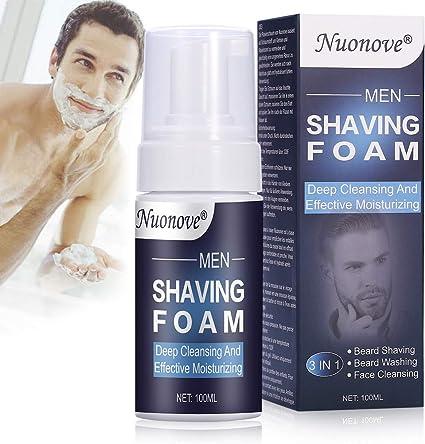 Espuma de Afeitar, Espuma Hidratante, Espuma de afeitar para hombres, para el cuidado de la piel sensible afeitado de barba y lavado de barba y limpieza facial, 3 en 1 (100 ml):