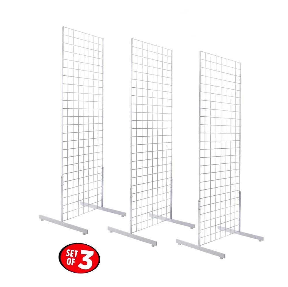 Only Hangers 2' x 6' Gridwall Panel Tower with T-Base Floorstanding Display Kit, 3-Pack White ...