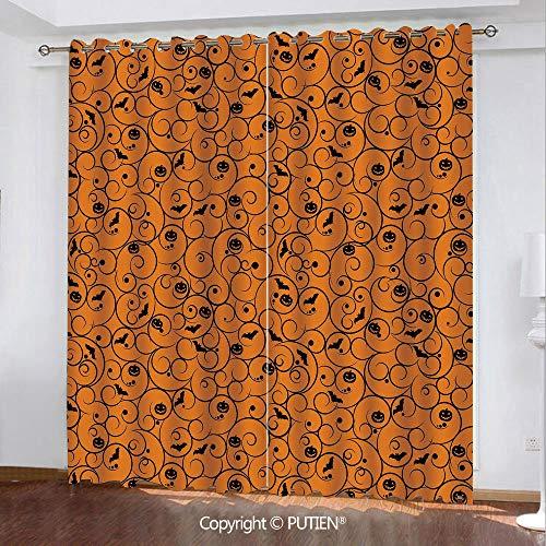 Satin Grommet Window Curtains Drapes [ Halloween,Floral Swirls