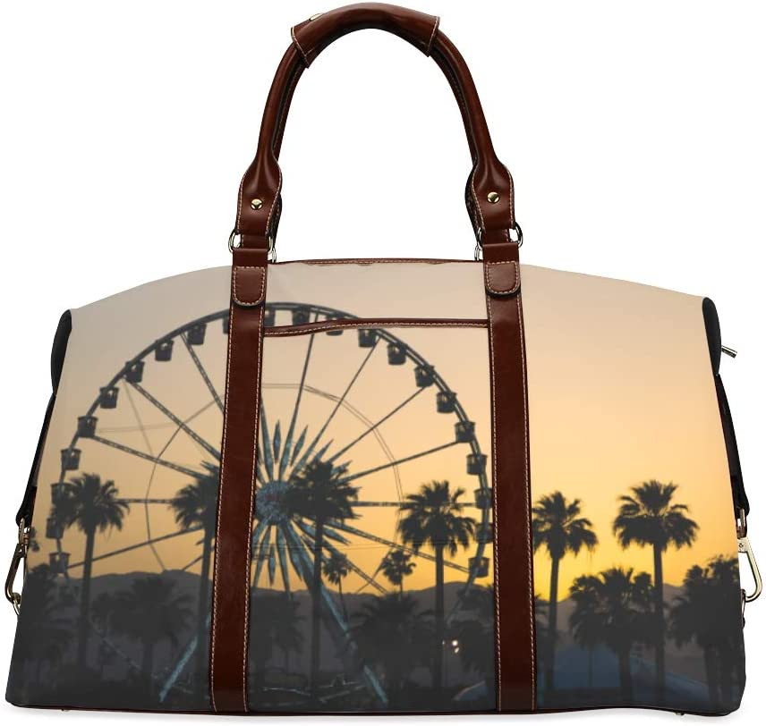 Mens Duffel Bag Sunset On Ferris Wheel In Orange Sky Classic Oversized Waterproof Pu Leather Adult Overnight Bag Fashion Handbags