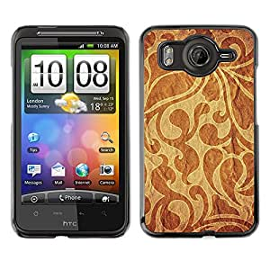 Qstar Arte & diseño plástico duro Fundas Cover Cubre Hard Case Cover para HTC Desire HD / G10 / inspire 4G( Wallpaper Pattern Textile Fabric Design Brown)