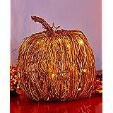 Pumpkin String LED Lighted Fall Grapevine Collection Fall Autumn Rattan & Metal (Large Pumpkin)