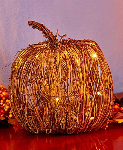The Lakeside Collection Harvest Season Grapevine Pumpkin - Large Lighted Autumn Home Decoration (With Wicker Lights Pumpkin)