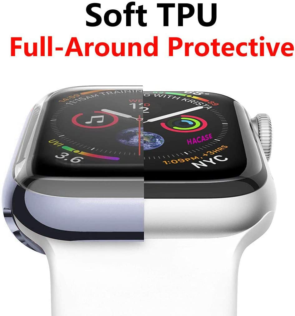 Black Case for IWatch Series 4//5 40mm 44mm with TPU Clear Screen Protector Black, 40mm All Around Protective Case High Definition Clear Ultra-Thin Cover for iwatch 40mm 44mm Series 4//5