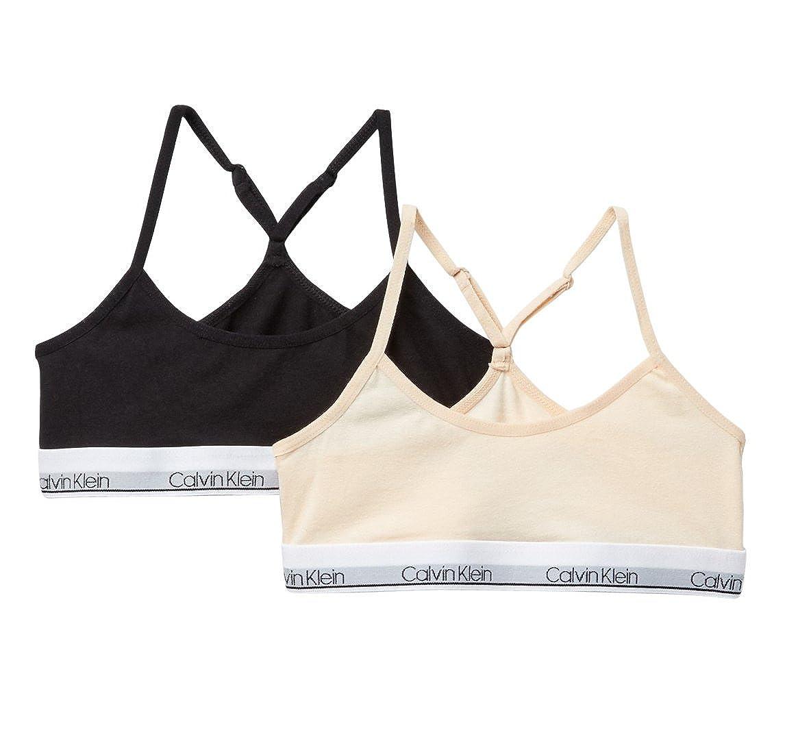 583109acab58b9 Amazon.com  Calvin Klein Girl`s Modern Cotton Racerback Bralette 2 Pack  (Nude(HC6108) Black White