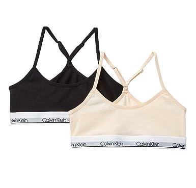 4e29d4a901bc6f Calvin Klein Girl`s Modern Cotton Racerback Bralette 2 Pack (Nude(HC6108)