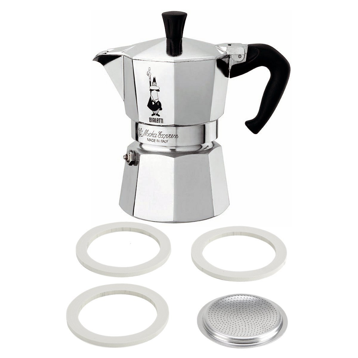 Bialetti Moka Express Aluminum 9 Cup Stove-top Espresso Maker with Replacement Filter and Gaskets by Bialetti