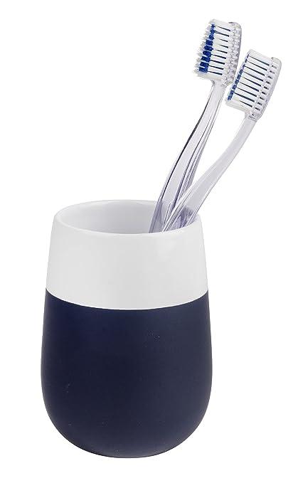 Wenko Vaso para cepillos de Dientes Malta de cerámica en Color Azul Oscuro/Blanco
