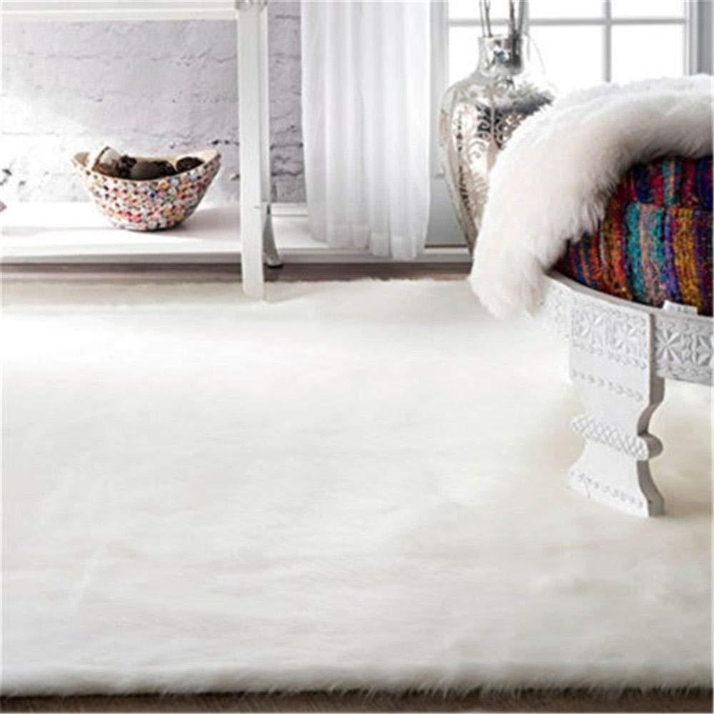 LOCHAS Stylish Fluffy Rug White Faux Fur Sheepskin Area Rugs for Bedroom, Soft Furry Rugs Bedside Living Room Carpet Nursery, 4x6 Feet by LOCHAS (Image #2)
