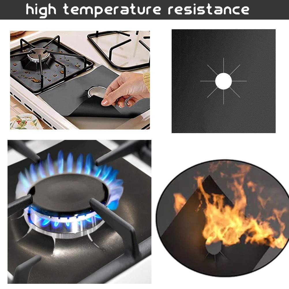27cm x 27cm x 2mm Resistant-temperature Gas Stove Cover Black Gas Range Protector Non-stick Stovetop Burners Covers Liner Mat Cooker Protector YANSHON 12Pcs Reusable Gas Hob Protectors Covers