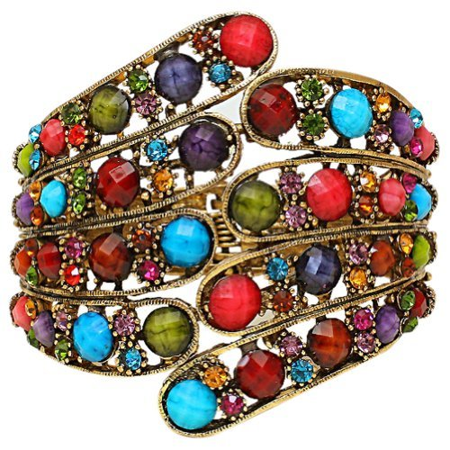 Vintage-Style-Burnished-Gold-Tone-Multicolor-Faux-Jewels-and-Crystals-Peacock-Feathers-Bangle-Bracelet
