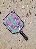 Eastport Pickleball Paddle, USAPA Approved, Green Turtle on Pink Sea - Pickleball's Poshest Paddle