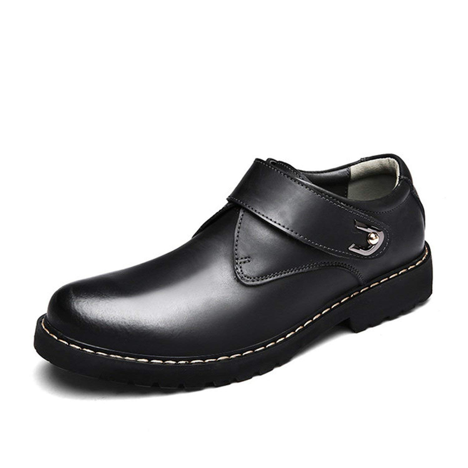 Black Loafers ALWAYS ME Men Genuine Leather shoes Business Wedding Brogue shoes Lace Up Soft Male Footwear
