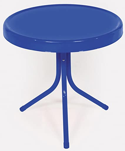 Remarkable Rich Pacific Electric Blue Retro Metal Tulip Side Table Download Free Architecture Designs Viewormadebymaigaardcom