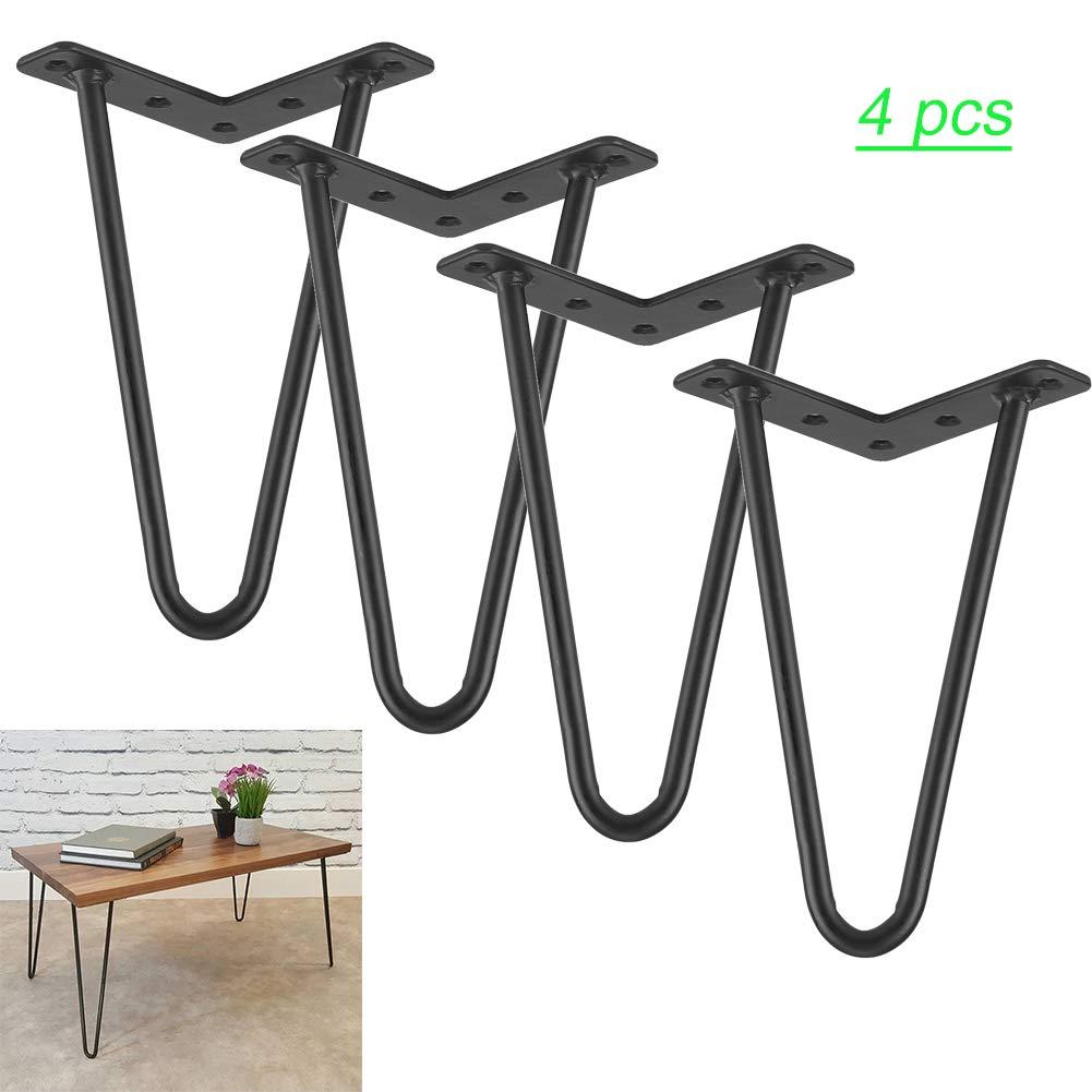 SOULONG negro Juego de 4 patas de mesa en horquilla de hierro negro