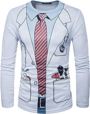 Quge Camisas para Hombre 3D Digital Impresión Traje Pajarita T-Shirt Manga Larga Blusa Camiseta: Amazon.es: Ropa y accesorios