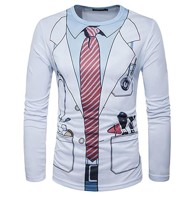 Quge Camisas para Hombre 3D Digital Impresión Traje Pajarita ...