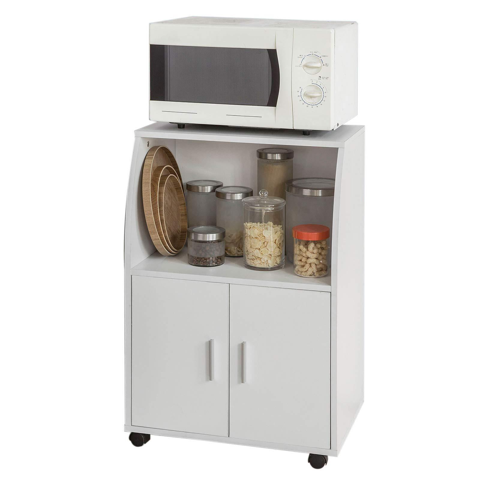 SoBuy®Aparador auxiliar bajo de cocina para microondas,con 2 puertas y 1 estante