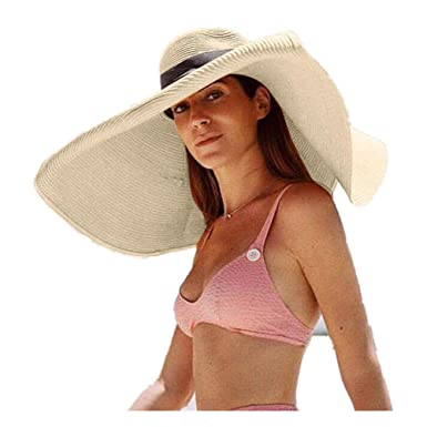e3b2f3a3 JJLIKER Womens Sun Straw Hat Oversized Wide Brim Summer Hat Foldable Roll  up Floppy Beach Hats