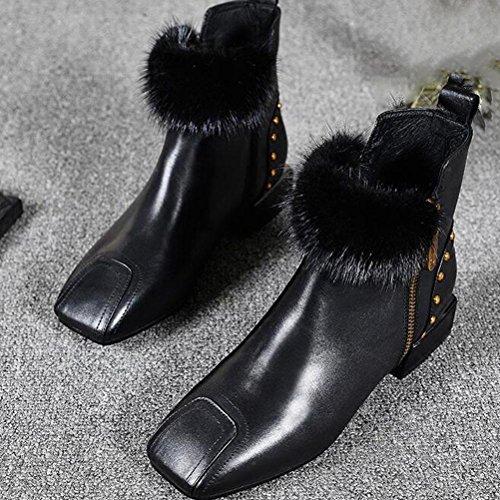 Plat Bottes terry black Et À Nouvelles Coton Talons Zipper BOTXV Tête Rivet Véritable Femmes Cuir Martin Carré Bas Hiver Chaussures Automne Bottes en Dames qBgtSxHP