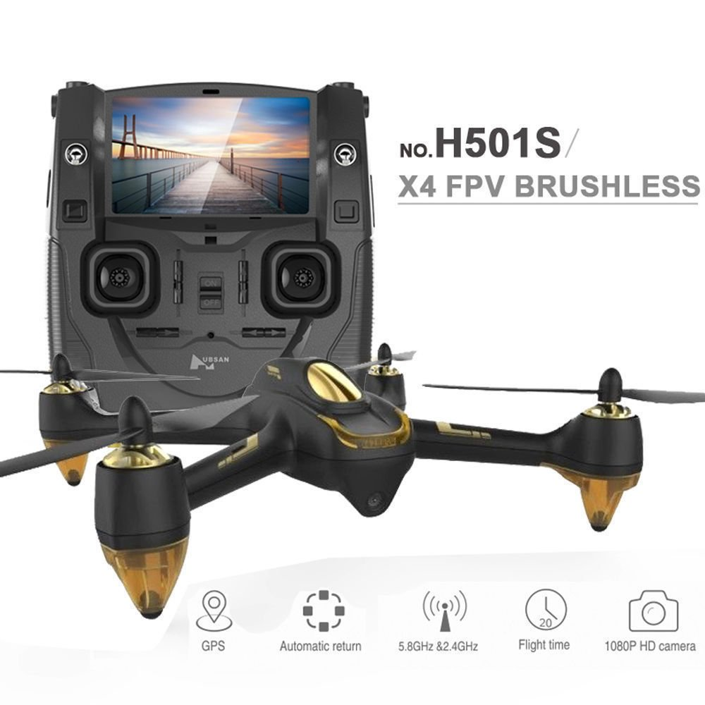 HUBSAN H501SS X4 Drone RC 5.8G Brushless FPV Quadcopter Drone for Adults with 1080P HD Camera Live Video GPS Headless Mode Black