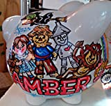 Over The Rainbow Oz Design Handpainted and Personalized Piggy Bank