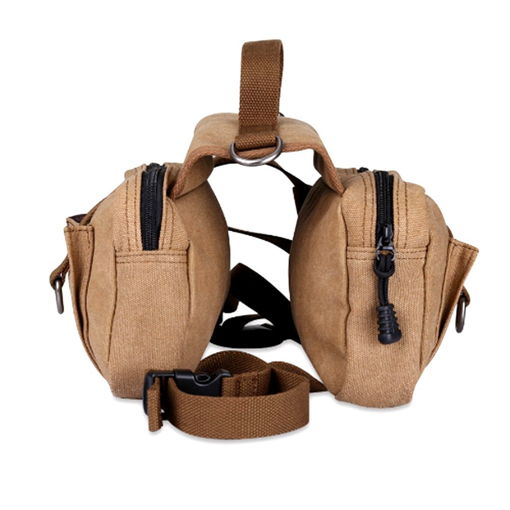 UEETEK Dog Backpack for Traveling Camping Hiking, Dog Training Vest, Saddle Bag Rucksack for Medium and Large Dog (Khaki)