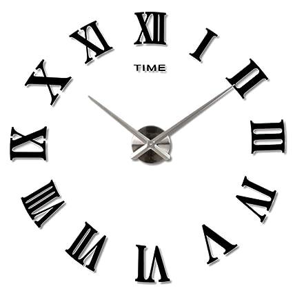 Amazon.com: 3D Large Clock,Hmane Acrylic Mirror Roman Numerals ...