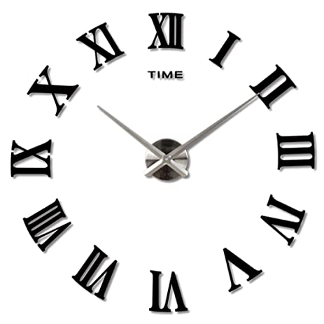 amazon com 3d large clock hmane acrylic mirror roman numerals