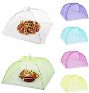 FICHENG 6 Pack Food Cover Mesh Food Tent Umbrella Food Net Tent for Outdoors, Parties Picnics, BBQs, Reusable and Collapsible 17 Inch