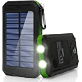 Solar Charger,10000mAh Solar Power Bank Portable External Backup Battery Pack Dual USB Solar Phone Charger with 2LED Light Carabiner and Compass for Your Smartphones(Green)
