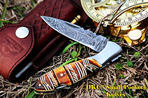 DKC-58-LJ-EH-LITTLE-JAY-Damascus-Folding-Pocket-Knife-Etched-Horn-Handle-4-Folded-7-Long-47oz-oz-High-Class-Looks-Incredible-Feels-Great-In-Your-Hand-And-Pocket-Hand-Made-DKC-Knives-LJ-Series
