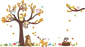 Cartoon Animal Tree Wall Decals Owl Monkey Elephant Wall Stickers Removable Art Wall Decals for Baby Nursery Kids Bedroom Playroom Wall Decor (Style1)