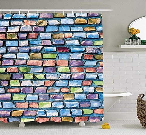 Geometric Shower Curtain Colorful Mosaic Tiles Pattern Brick Wall Design with Grunge Effect Worn Out Look Fabric Bathroom Decor Set with Hooks Extra Long Blue Coral 70