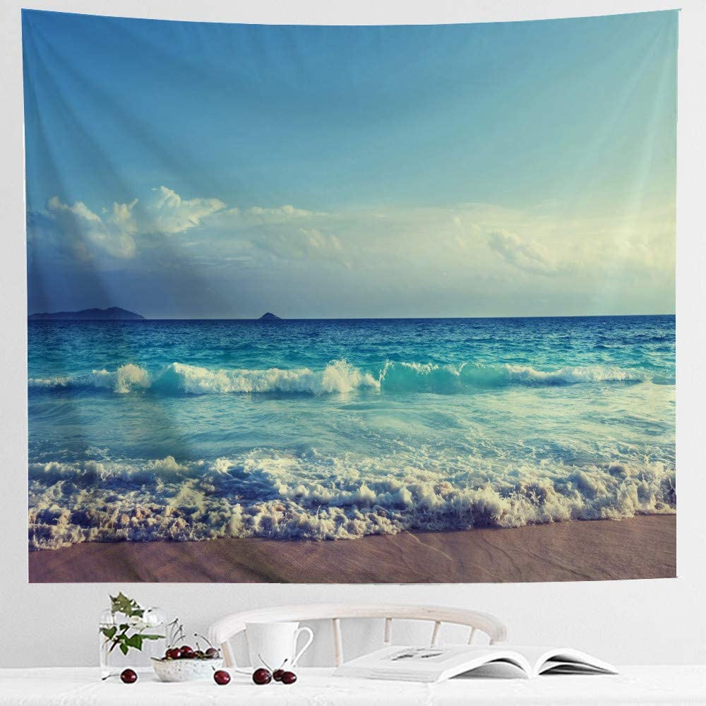 IcosaMro Ocean Tapestry Wall Hanging, Beach Blue Sea Wave Landscape Scenery Nature Wall Art [Double-Folded Hems] Bohemian Home Decor for Bedroom, Dorm, College, Living Room, 60x82.7, Blue