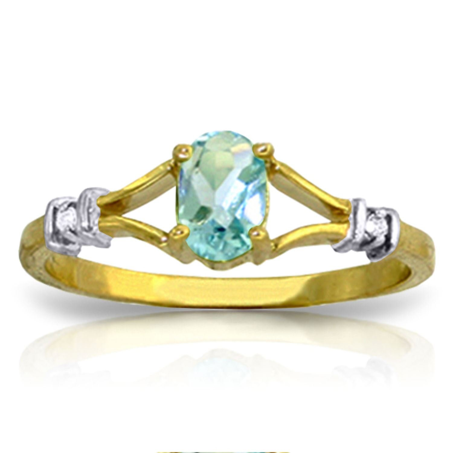 ALARRI 0.46 Carat 14K Solid Gold My Love Is Constant Blue Topaz Diamond Ring With Ring Size 8