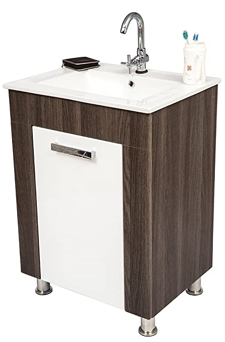 Stupendous Dazzle Kitchen P1760Z Modular Bwr Plywood Vanity Washbasin Cabinet Brown White Home Remodeling Inspirations Genioncuboardxyz